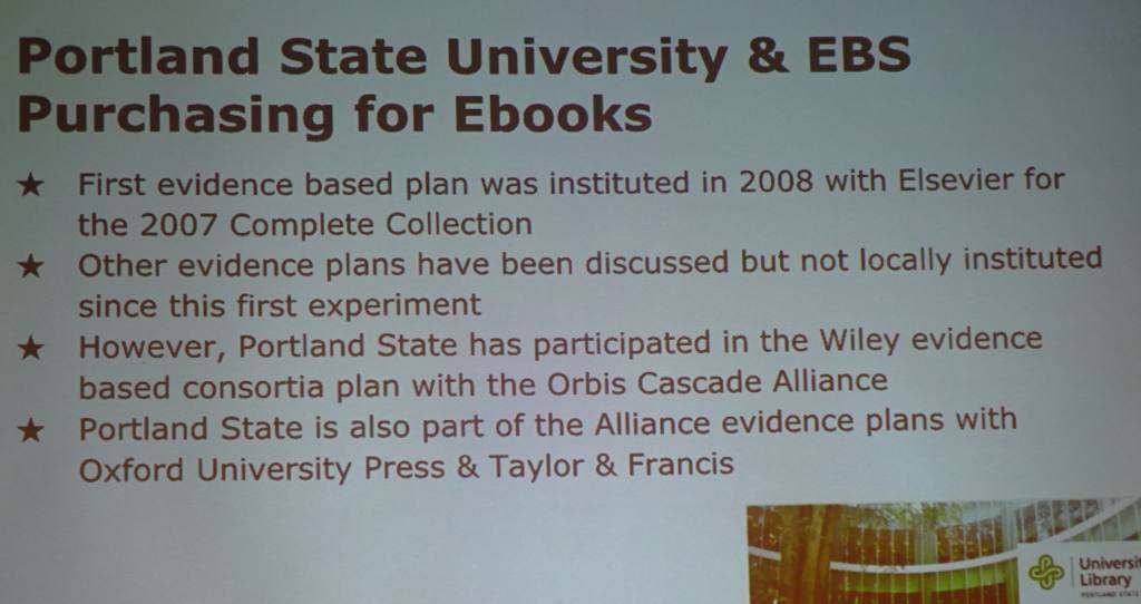 Portland State and EBS Purchasing for eBooks