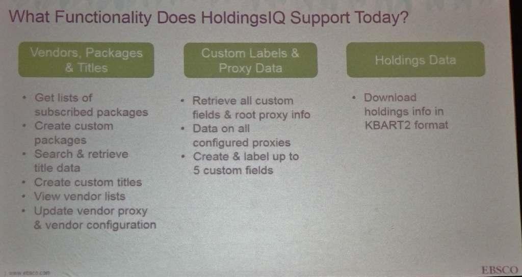 HoldingsIQ functionality