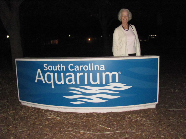 Pat Hawkins at the aquarium entrance