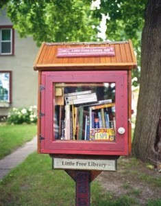 The first Little Free Library, inviting visitors to 'take a book, leave a book,' Hudson, Wisconsin, 2012; photograph by Robert Dawson from his book The Public Library: A Photographic Essay, just published by Princeton Architectural Press.